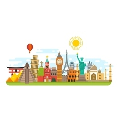 World famous travel landmark international vector image vector image