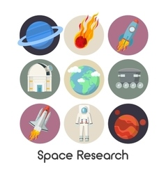 Space research icons set with shuttle and planets vector