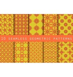 Set of 10 geometric seamless pattern vector