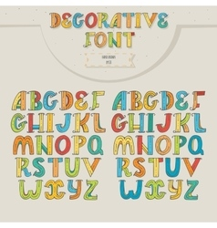 Big set of colorful decorative letters on beige vector