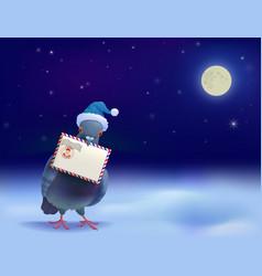 christmas post pigeon vector image