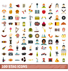 100 stag icons set flat style vector