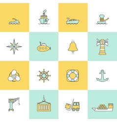 Sea port icons flat line set vector