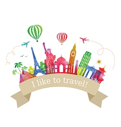 Travel and tourism label vector