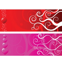 Hearts banners vector