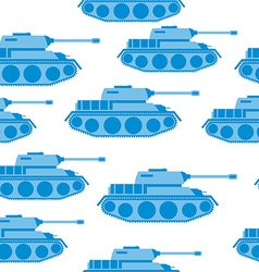 Cute blue tank seamless pattern military vector