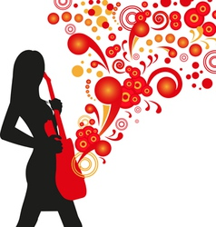 silhouette girl with guitar vector image