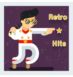 Retro hits singer like elvis presley vector