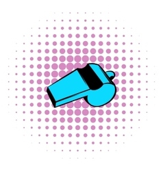 Blue sport whistle icon comics style vector