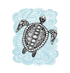 Tortoise ornate zentangle for your design vector