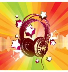Headphones and stars vector