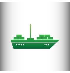 Ship sign green gradient icon vector