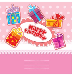 Baby birthday card with gift boxes vector