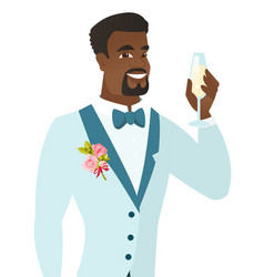 African-american groom holding glass of champagne vector