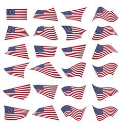 American flag setamerican flag blowing in the vector