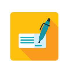 Blank bank check with pen and signature icon vector