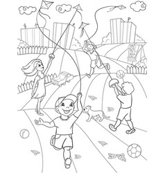 Children coloring game kite flying vector