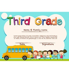Diploma for third grade students vector