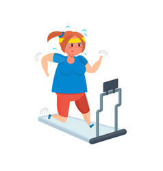Full girl goes in for sports moving on treadmill vector