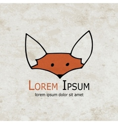 Funny fox design on grunge paper vector image vector image
