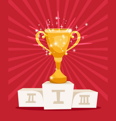 Golden award prize cup on podium vector