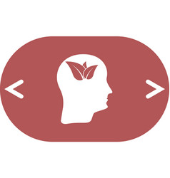 Green thinking head icon solid pictogram vector