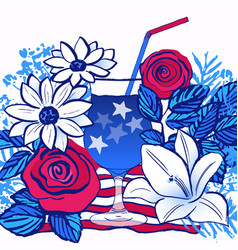Ink hand drawn card july 4th independence day vector