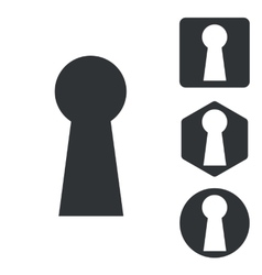 Keyhole icon set monochrome vector image