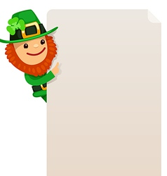 leprechaun looking at blank poster vector image vector image