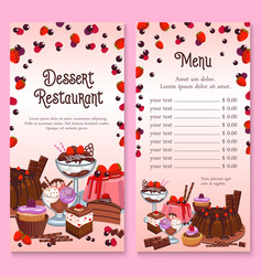 menu for pastry dessert cakes and cupcakes vector image