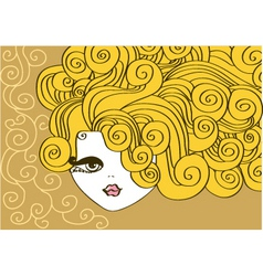 nice girl with curly hairvector illustration vector image