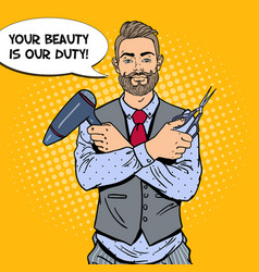 pop art bearded barber with scissors and hairdryer vector image vector image