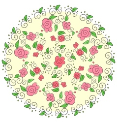 Round floral pattern vector image vector image