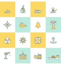 Sea port icons flat line set vector