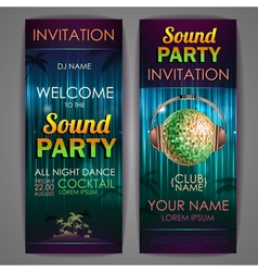 Set of disco background banners Sound party poste vector image