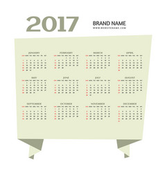 simple 2017 happy new year calendar design vector image vector image