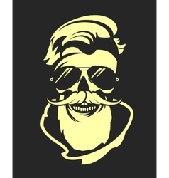 Skull with beard in sunglasses vector