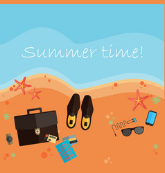 Summer holidays flat design beach and business vector
