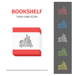 thin lined book shelf icon vector image vector image
