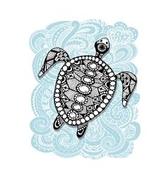 Tortoise ornate zentangle for your design vector image vector image