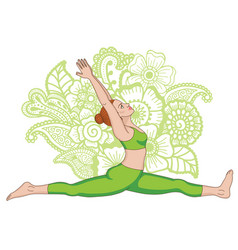 Women silhouette monkey yoga pose hanumanasana vector