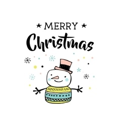 Merry Christmas with snowman vector image