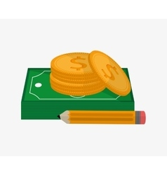 Bills coins and pencil design vector