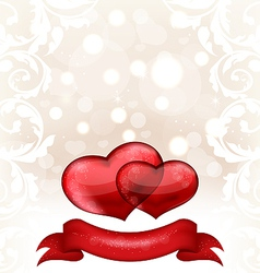 Valentines day or wedding invitation with hearts vector