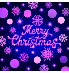 Christmas glitter lettering on xmas background vector