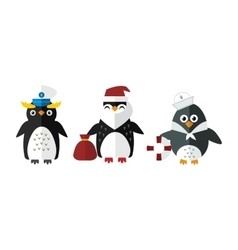 Penguin sailor santa animal character vector