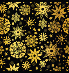 Gold black abstract doodle stars seamless vector