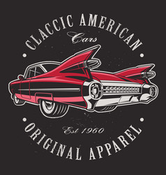 american car on black background vector image