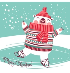 Christmas card with cute polar bear on an ice rink vector