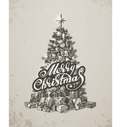 Christmas hand drawn fur tree for xmas design vector